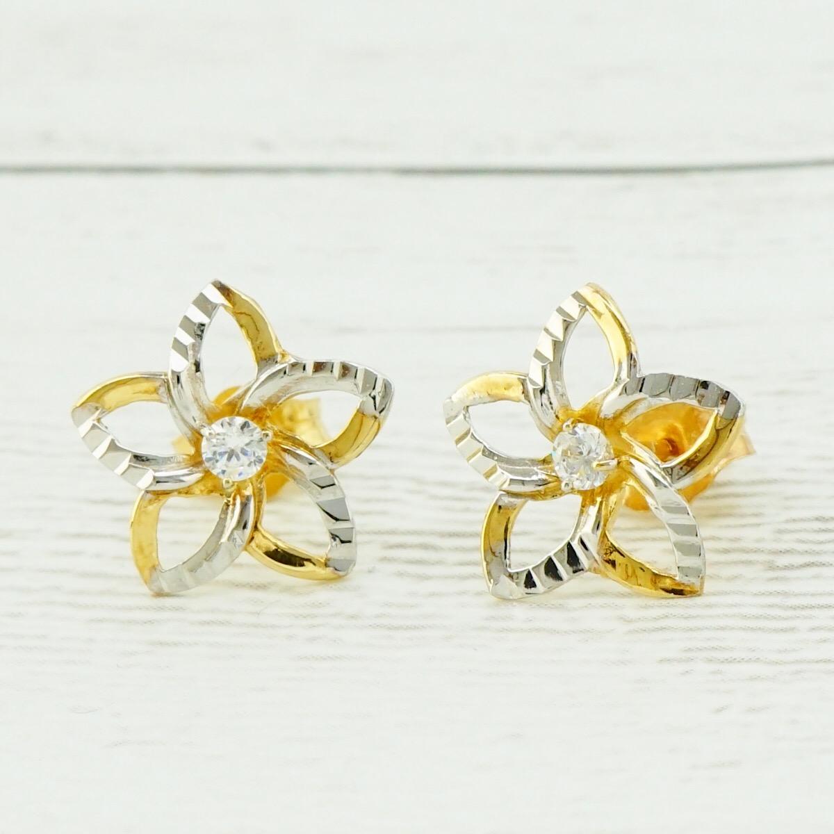 14K透かしプルメリアピアス(Yellow Gold/White Gold)