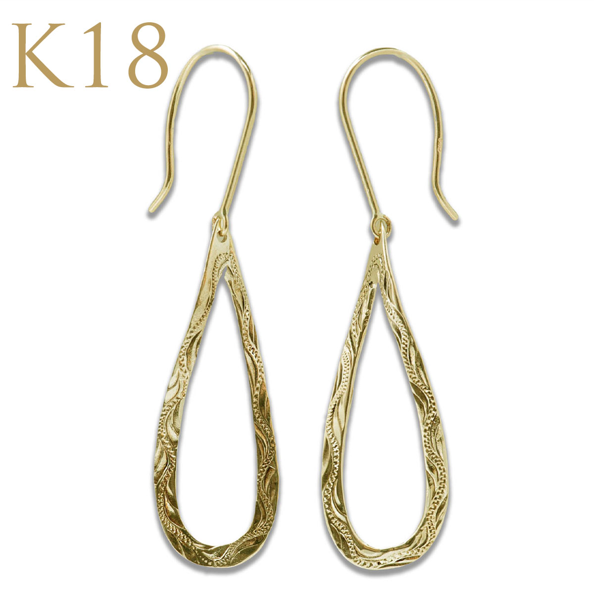 ハワイアンジュエリー ピアス レディース ツイストドロップスクロールピアス(両耳用)K18 ゴールド 18金 18K プレゼント ape1535ae