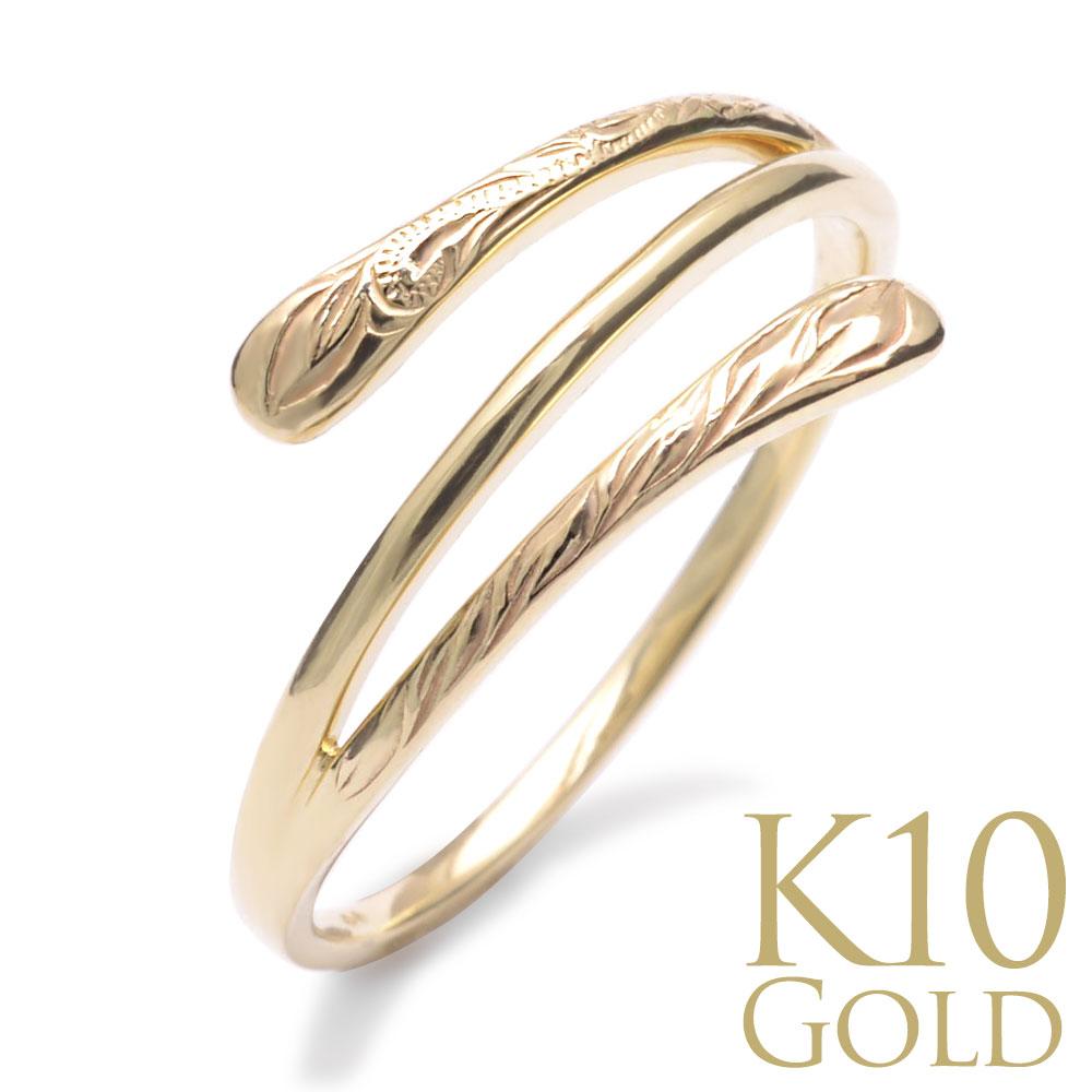 ハワイアンジュエリー 指輪 リング  K10 ゴールド ラウラウ ゴールドラップリング 10金 ゴールド イエローゴールド ari1689k10/新作