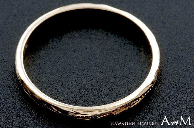 ハワイアンジュエリー ペアリング シルキーゴールドリング  ペア イエロー ゴールド K14ゴールド(14金)・幅2mm 華奢 arig6521pair