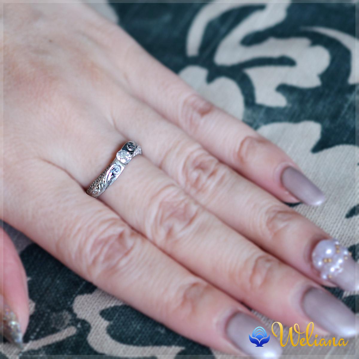ハワイアンジュエリーレディース 女性(Weliana)NAO ナオ スクロール ダイヤモンド リング プラチナ