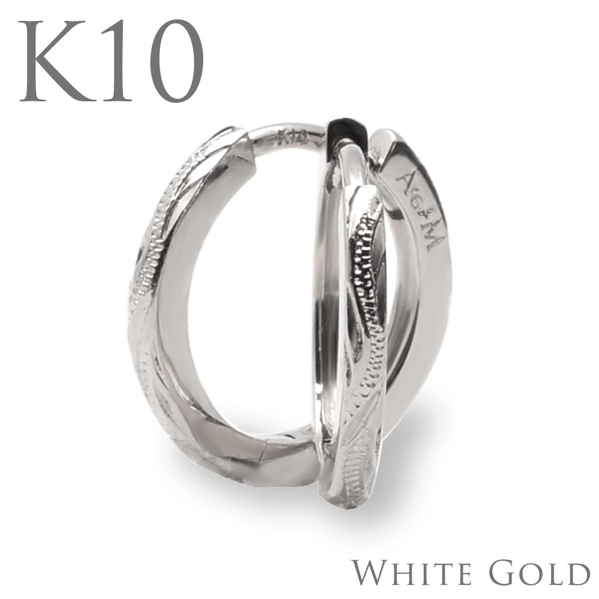 10金 ピアス フープ ピアス ハワイアンジュエリーアクセサリー スクロール・フープピアス (K10/ 10金 ホワイトゴールド)aer1082gap