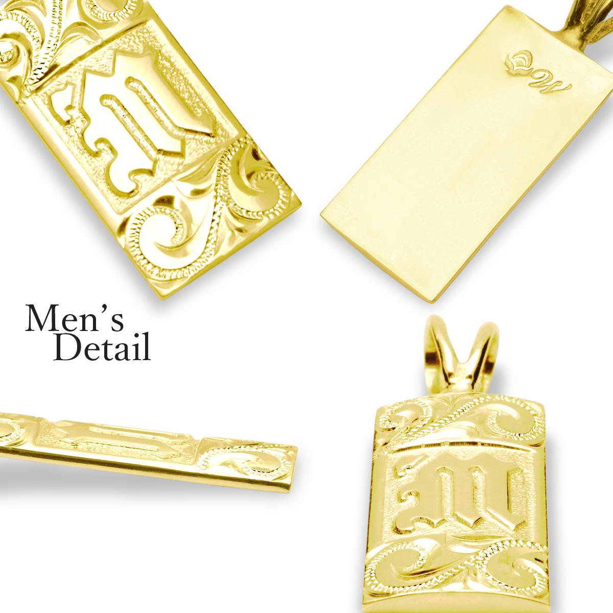 ハワイアンジュエリー ネックレス K14 K18 ゴールド レディース メンズ 14金 18金 [Weliana] バレル オーダーメイド イニシャルペンダント 幅8mmまたは10mm/wpd1645k14