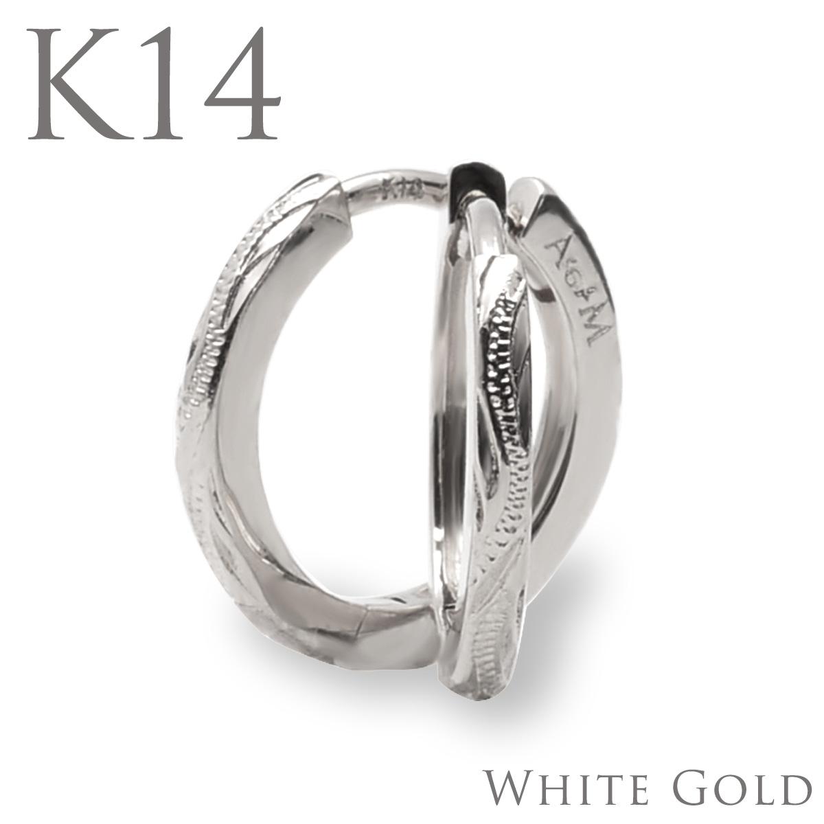 ハワイアンジュエリー ピアス 14金 フープ ピアス アクセサリー スクロール・フープピアス (K14 14金 ホワイトゴールド)aer1082gape