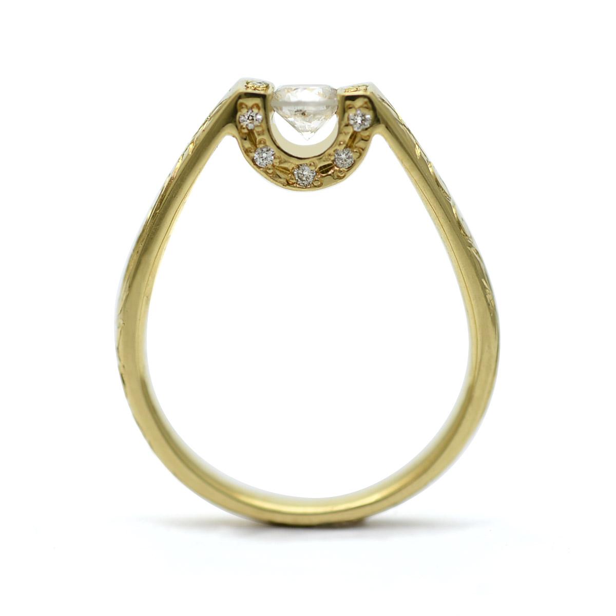 ハワイアンジュエリーレディース 女性(Weliana) K18 リング 18金 リング スクロール ダイヤモンド リング イエローゴールド