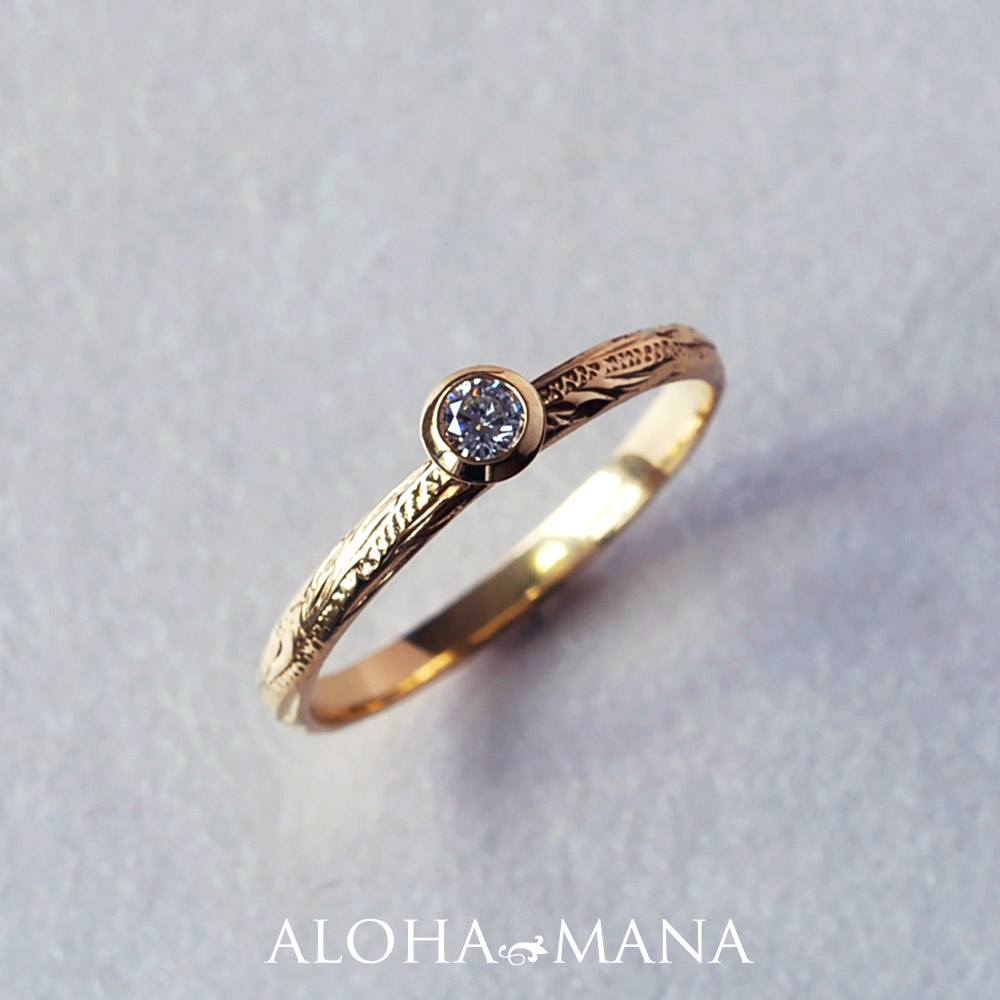 ハワイアンジュエリー  リング ひと粒ダイヤモンドシルキーゴールドリング(K18 18金・幅2mm) arig6581