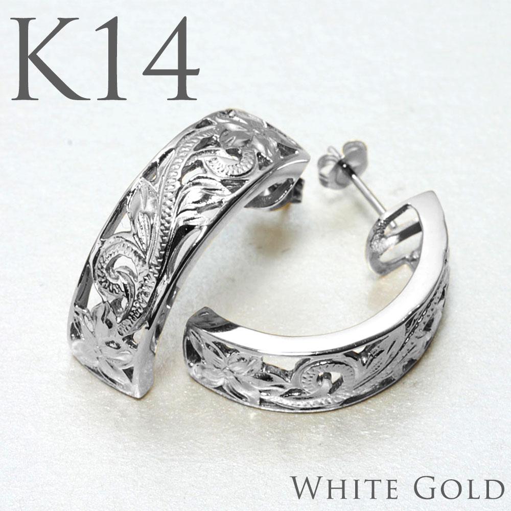 ハワイアンジュエリー ピアス 透かしハーフムーン K14ホワイトゴールドピアス・プルメリアプリンセス aer2653y