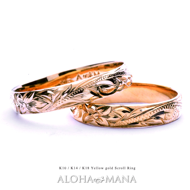 リング 指輪 ハワイアンジュエリーレディース 女性 メンズ 男性 ペアリングにオススメ ゴールドリング イエローゴールド ピンクゴールド ホワイトゴールド K18ゴールド(18金) arig0043