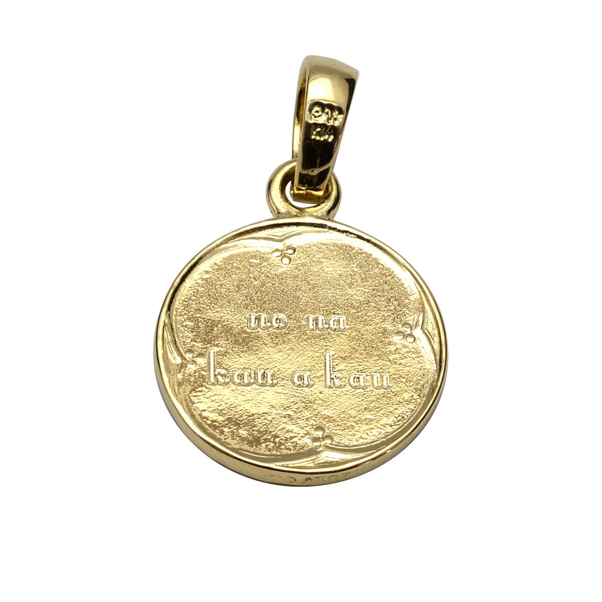 ネックレス ハワイアンジュエリー アクセサリー レディース 女性 メンズ 男性 K14 イエローゴールド キリスト メダイ ラウンド ペンダントトップ(付属チェーン無) apd1508