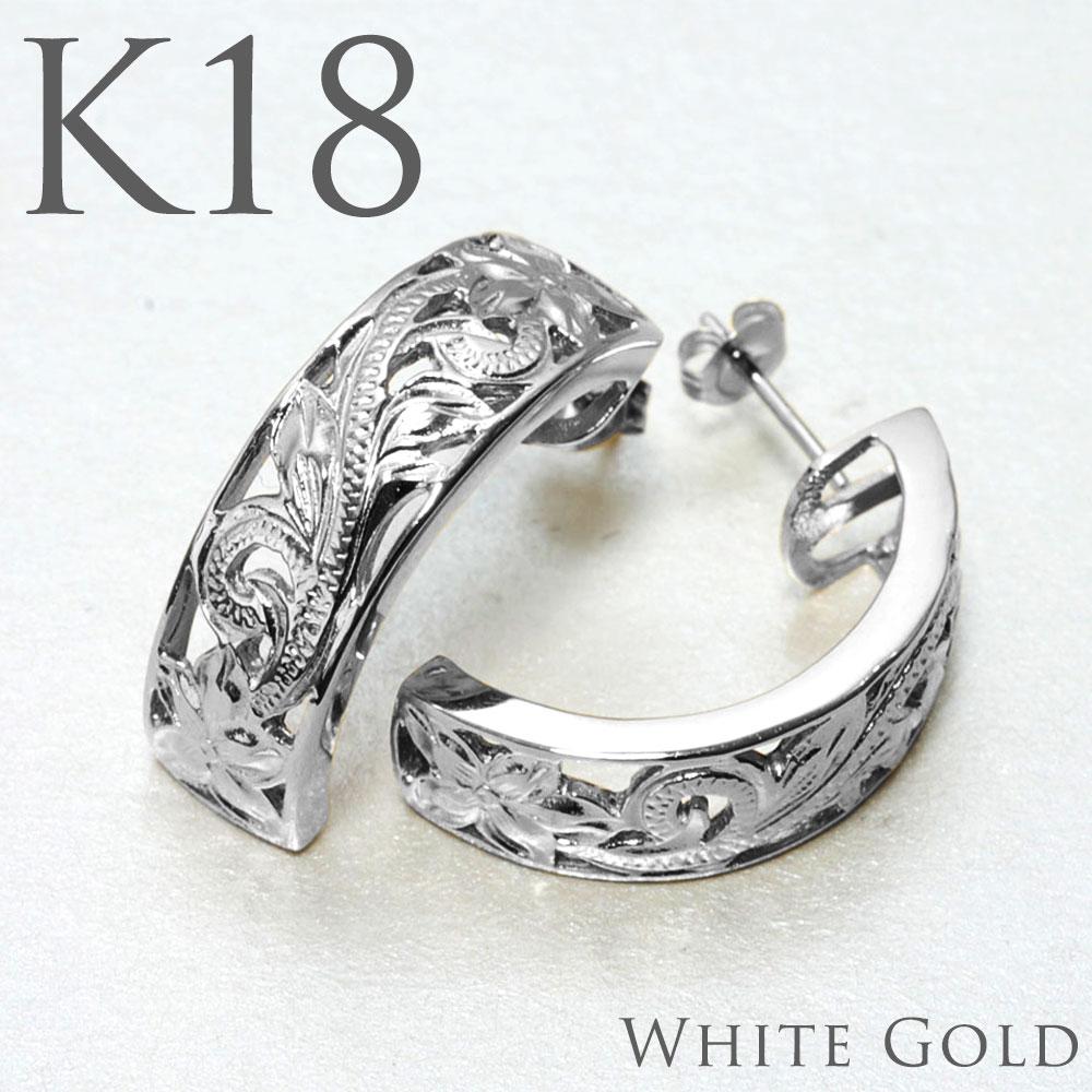 ハワイアンジュエリー ピアス 透かしハーフムーン K18 ホワイトゴールドピアス・プルメリアプリンセス aer2653ygape