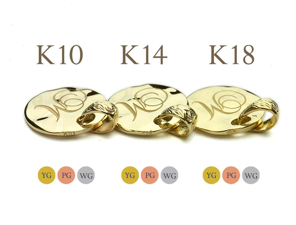 ネックレス レディース 女性 ハワイアンジュエリー イニシャル ラウンド ゴールド お好きな文字を刻印してあなただけのお守りに  40cmチェーン付きセット K14  14金 イエロー ピンク ホワイト シンプル 華奢 刻印無料 apd1136g14 (K14チェーン付)