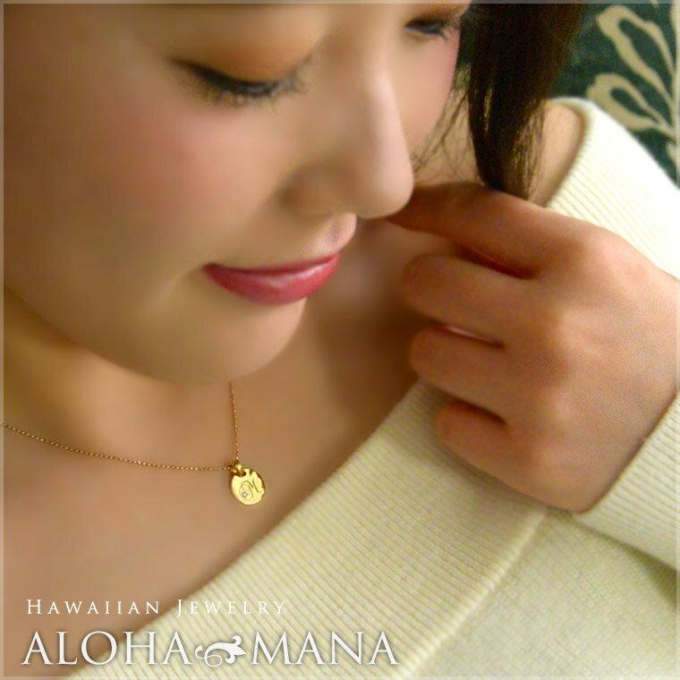 ネックレス レディース 女性 ハワイアンジュエリー イニシャル ラウンド ゴールド お好きな文字を刻印してあなただけのお守りに  40cmチェーン付きセット K14  14金 イエロー ピンク  シンプル 華奢 刻印無料 apd1136g14