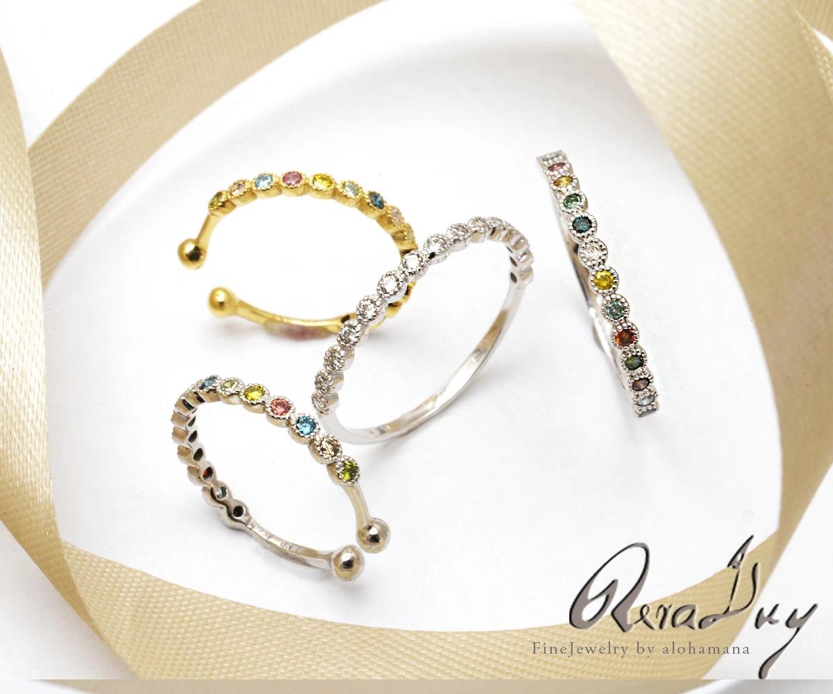 Pt900 プラチナ リング 指輪 カラーダイヤモンド ミルグレイン リング RERALUy/新作