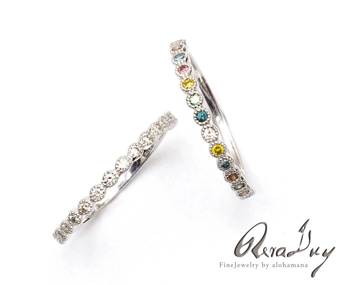 K10 ゴールド ホワイトダイヤモンド  ミルグレイン イヤーカフ (片耳用) RERALUy rer1658k10 新作