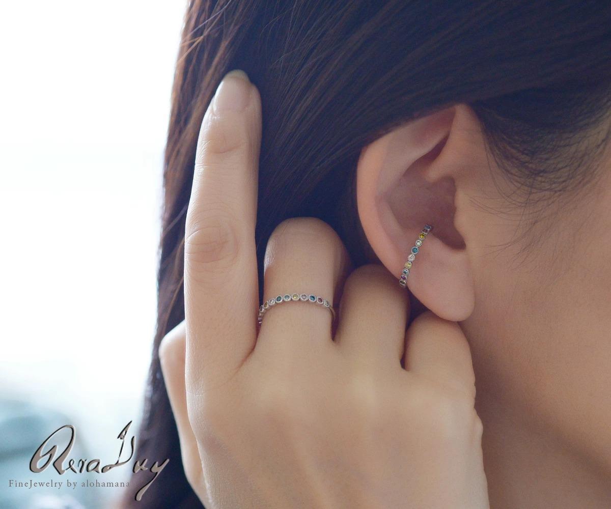 K10 ゴールド カラーダイヤモンド  ミルグレイン イヤーカフ (片耳用) RERALUy rer1659k10 新作