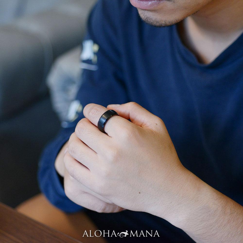 ハワイアンジュエリー リング 指輪 メンズ レディース ブラックタングステン コアウッド ダブルリング プレゼント ギフト bri1700/新作