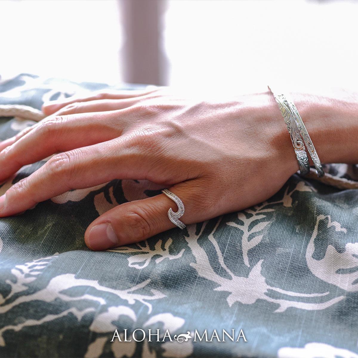 ハワイアンジュエリー リング レディース デュアルWAVE CZリング手彫り シルバー925製  プレゼント ギフト bri1584