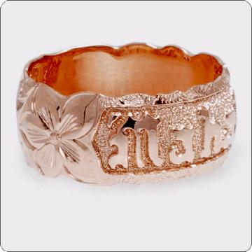 ハワイアンジュエリー  結婚指輪 シングルトーン バレルリーガルカットアウト ネーム ゴールドリング cdr002(幅8mm・10mm・12mm)