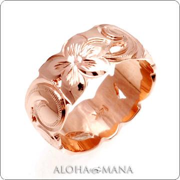 ハワイアンジュエリー  結婚指輪 シングルトーン 透かしカットアウト バレル ゴールドリング cdr059(幅8mm・10mm・12mm)