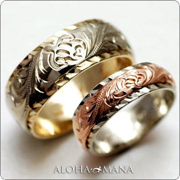 ハワイアンジュエリー  結婚指輪 デュアルトーン バレル ストレートヘビー・ ゴールドリング cdr026(幅6mm・8mm・10mm)