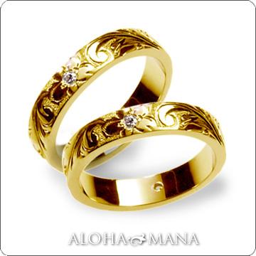 ハワイアンジュエリー  結婚指輪 ペアリング シングルトーンフラット 0.02ct ダイヤモンドゴールドリング ペア セット (幅4mm・6mm) hijrig034pair