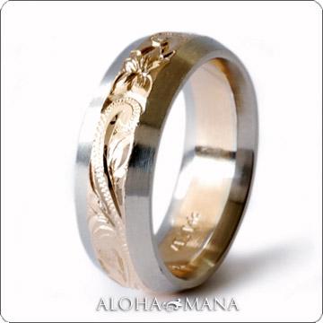 ハワイアンジュエリー  結婚指輪 フラット ソリッドエッジ ツートーンカラー ゴールドリング cdr072 (幅6mm・8mm)
