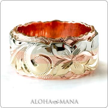 ハワイアンジュエリー  結婚指輪 デュアルトーン フラット トライカラー ダブルカットアウト ゴールドリング cdr081(幅8mm・10mm)