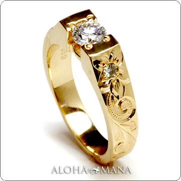 エンゲージリング 結婚指輪 婚約指輪 ハワイアンジュエリー リング レディース テーパービート ダイヤモンド セッティング ウェディング ゴールドリング  lgr002