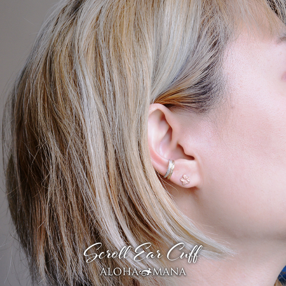 ゴールド カフ K18 イヤーカフ 2mm 片耳用 ハワイアンジュエリー アクセサリー レディース 女性 メンズ 男性 スクロールイヤーカフ aer1501aeプレゼント