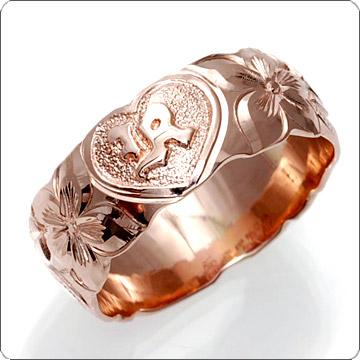 ハワイアンジュエリー  結婚指輪 シングルトーン バレル イニシャル ゴールドリング cdr060(幅8mm・10mm・12mm)