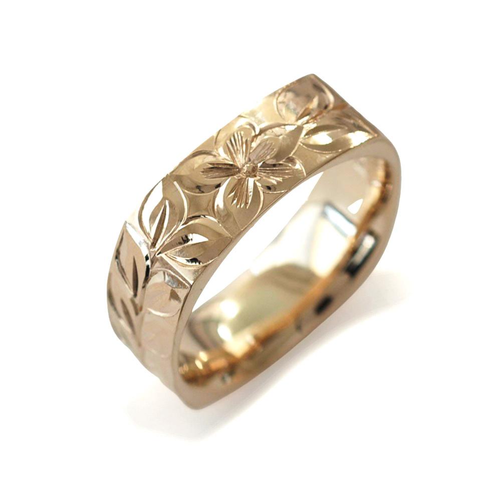 ハワイアンジュエリー  結婚指輪 シングルトーン  4サイド ゴールドリング cdr076(幅3mm・6mm・8mm)