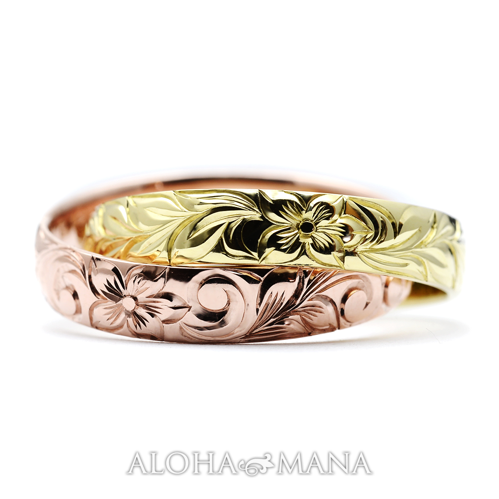 ハワイアンジュエリー  結婚指輪 2連リング バレル カットアウト・ ゴールドリング cdr056