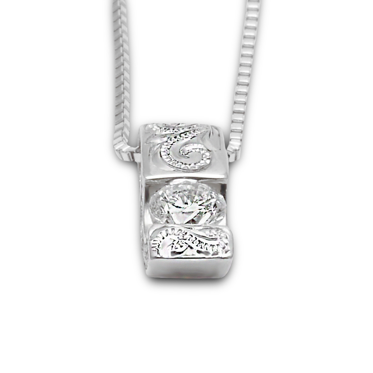 ハワイアンジュエリー ネックレス プラチナ ダイヤモンド (Weliana) Pt950 スクロール ダイアモンド ペンダントネックレス 0.18ct 45cmAJチェーン (Pt850)/新作
