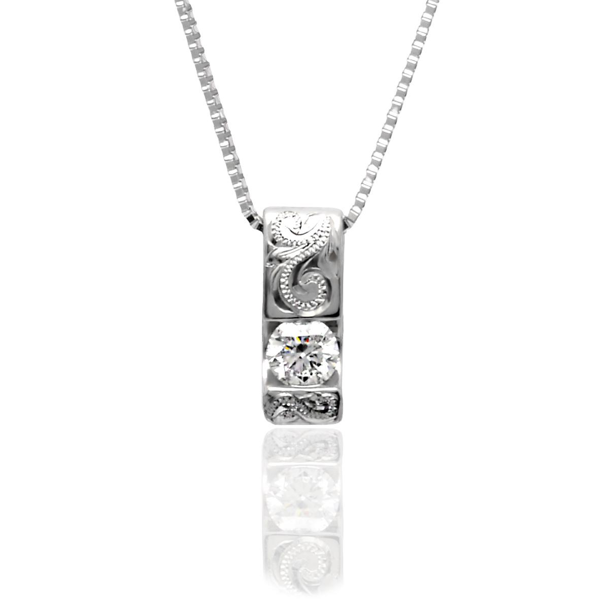 ハワイアンジュエリー ネックレス プラチナ ダイヤモンド (Weliana) Pt950 スクロール ダイアモンド ペンダントネックレス 0.19ct 45cmAJチェーン (Pt850)/新作