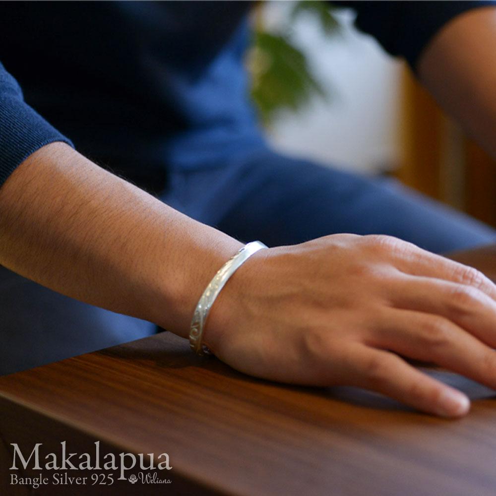 ハワイアンジュエリー バングル シルバー レディース メンズ (Weliana) エングレーブド マカラプア[Makalapua]オープンバングル ギフト wbg1702/新作