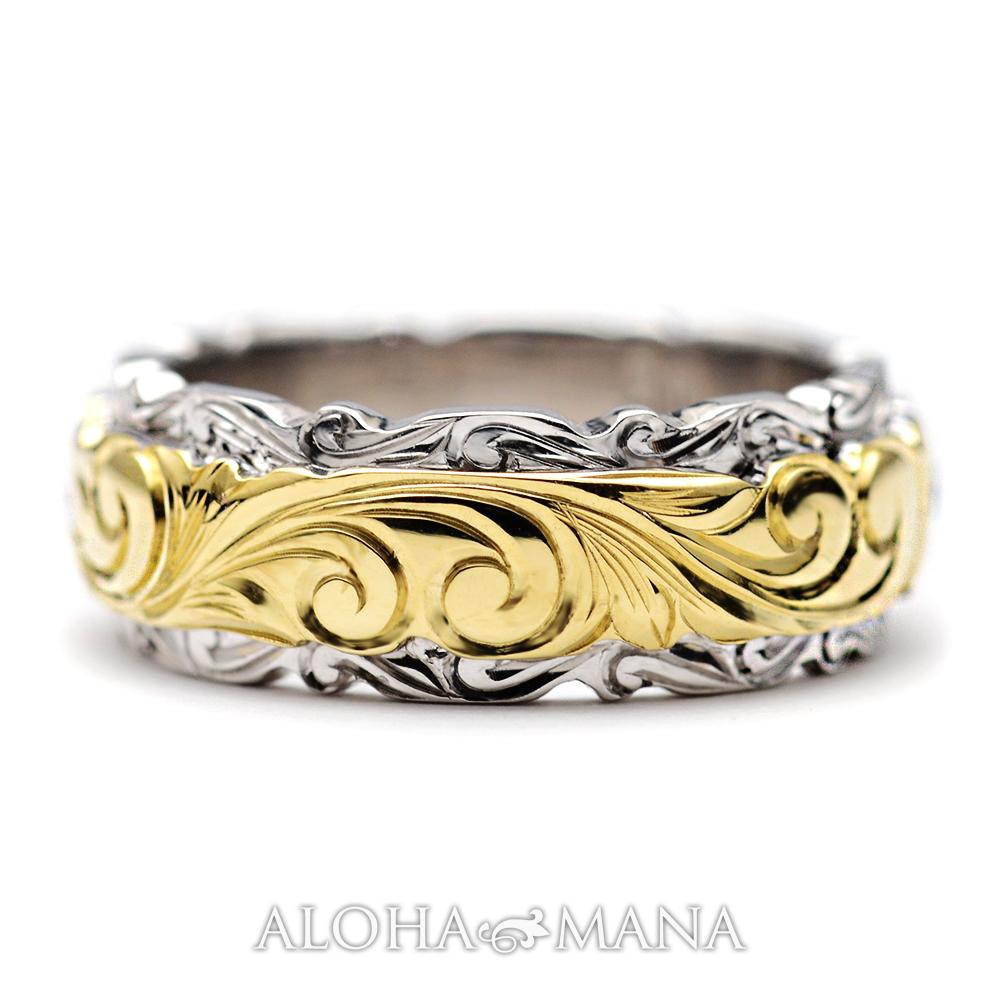 ハワイアンジュエリー  結婚指輪 デュアルトーン バレル 1.8mm ダブルカットアウト・ ゴールドリング cdr019b(幅6mm・8mm・10mm)