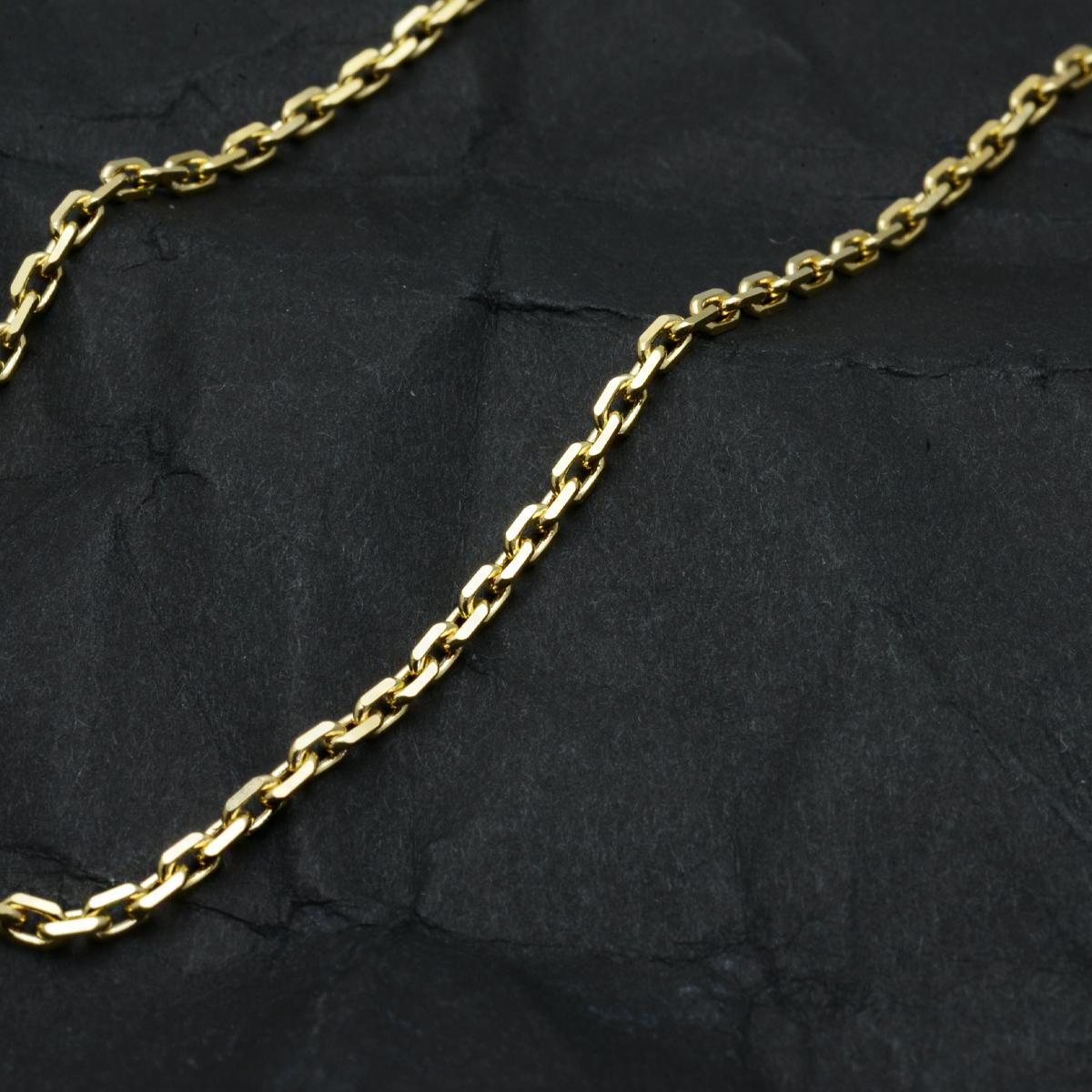 4/2新発売  k18ネックレス K18 イエローゴールド メンズ 男性 カットアズキチェーン 幅1.7mm チェーン 60cm/ プレゼント ギフト gold necklace ach1661c60