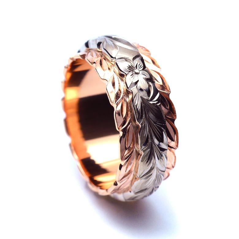 ハワイアンジュエリー  結婚指輪 デュアルトーン バレル  マイレ ダブルカットアウト ゴールドリング(幅8mm)  wri1458