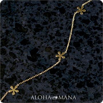 ハワイアンジュエリー  ブレスレット K18プルメリアブレスレット 18cm abr1048