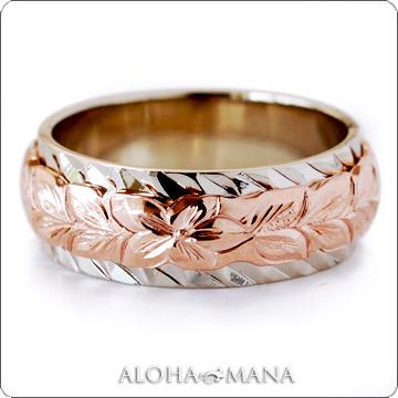 ハワイアンジュエリー  結婚指輪 デュアルトーン バレル カットアウト・ ゴールドリング cdr018(幅6mm・8mm・10mm・12mm)