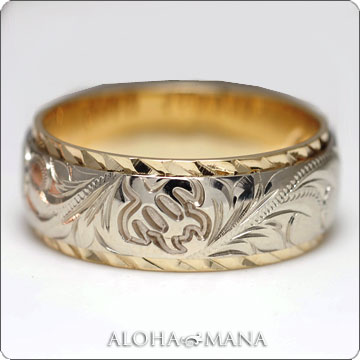 ハワイアンジュエリー  結婚指輪 ペアリング デュアルトーンバレルストレート K14 ゴールドリング ペアリングセット cdr026pair (幅6mm・8mm・10mm)