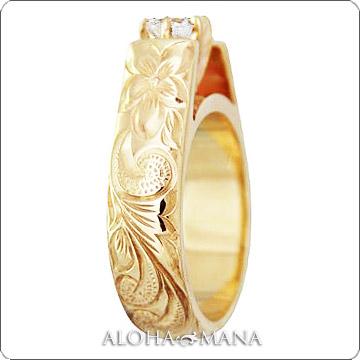 エンゲージリング 結婚指輪 婚約指輪 ハワイアンジュエリー リング レディース フレンチマウント ウェディング ダイヤモンド リング (幅6mm) lgr004b