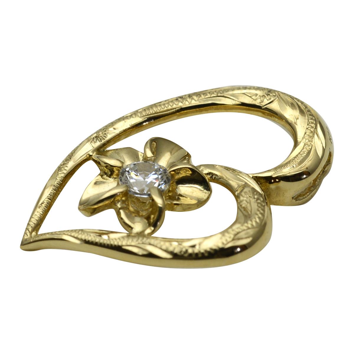 K18 ハワイアンジュエリー ネックレス GOLD オープンハート プルメリア  ダイヤモンド ペンダントトップ ※付属チェーンなし apd1196a