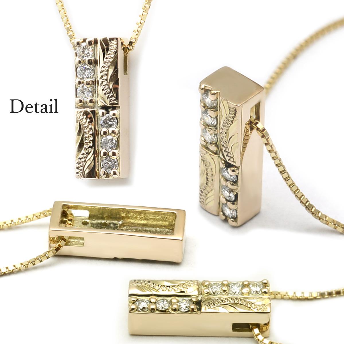 ゴールドネックレス 10k ハワイアンジュエリー レディース 女性 10金 K10 ゴールド ・バーペンダント ダイヤモンド 0.06ct ペンダント イエローゴールド 華奢 ane1539 新作