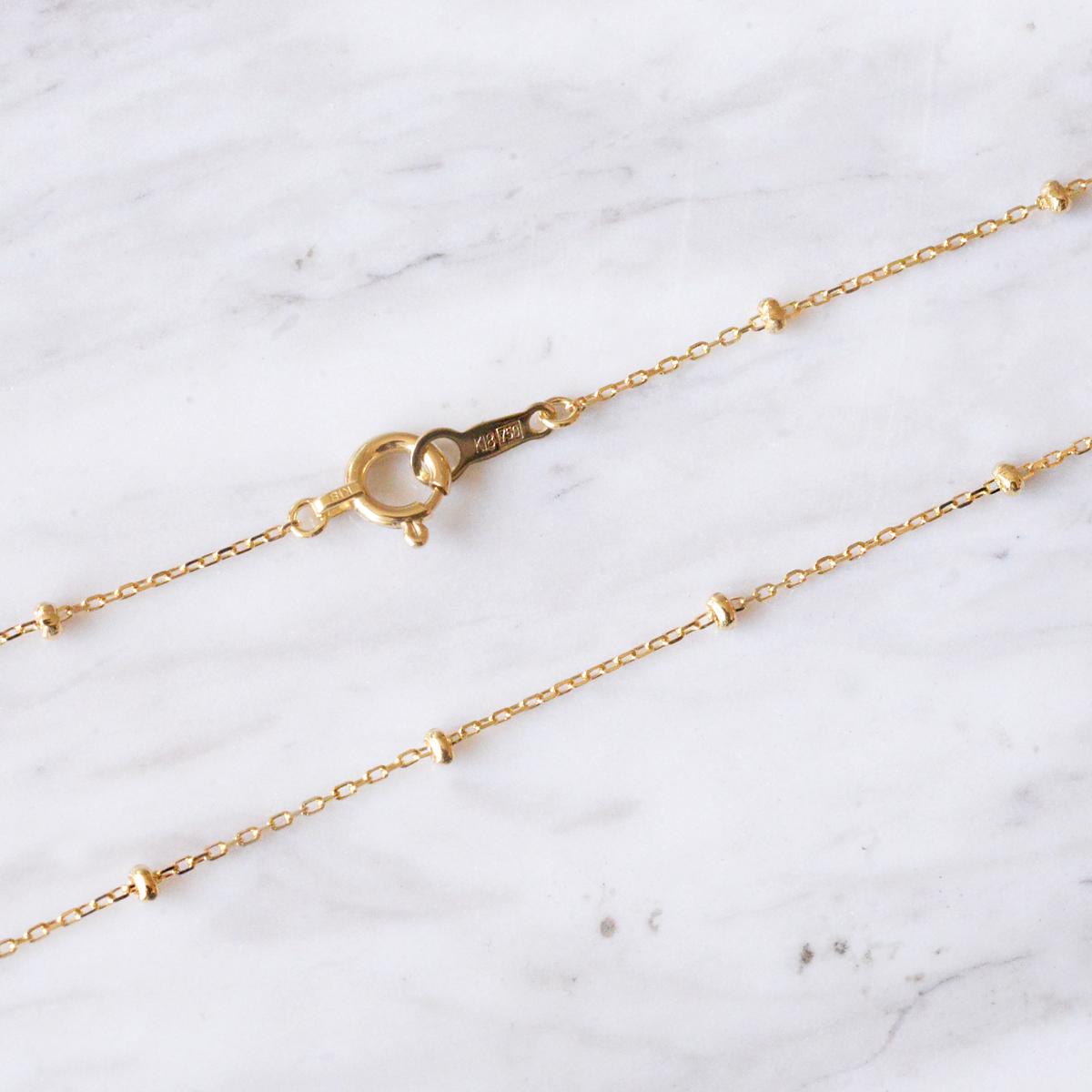 k18ネックレス K18 イエローゴールド スタッド アズキチェーン ビーズ幅1.7mm チェーン 37cm/ プレゼント ギフト gold necklace ach1663c37
