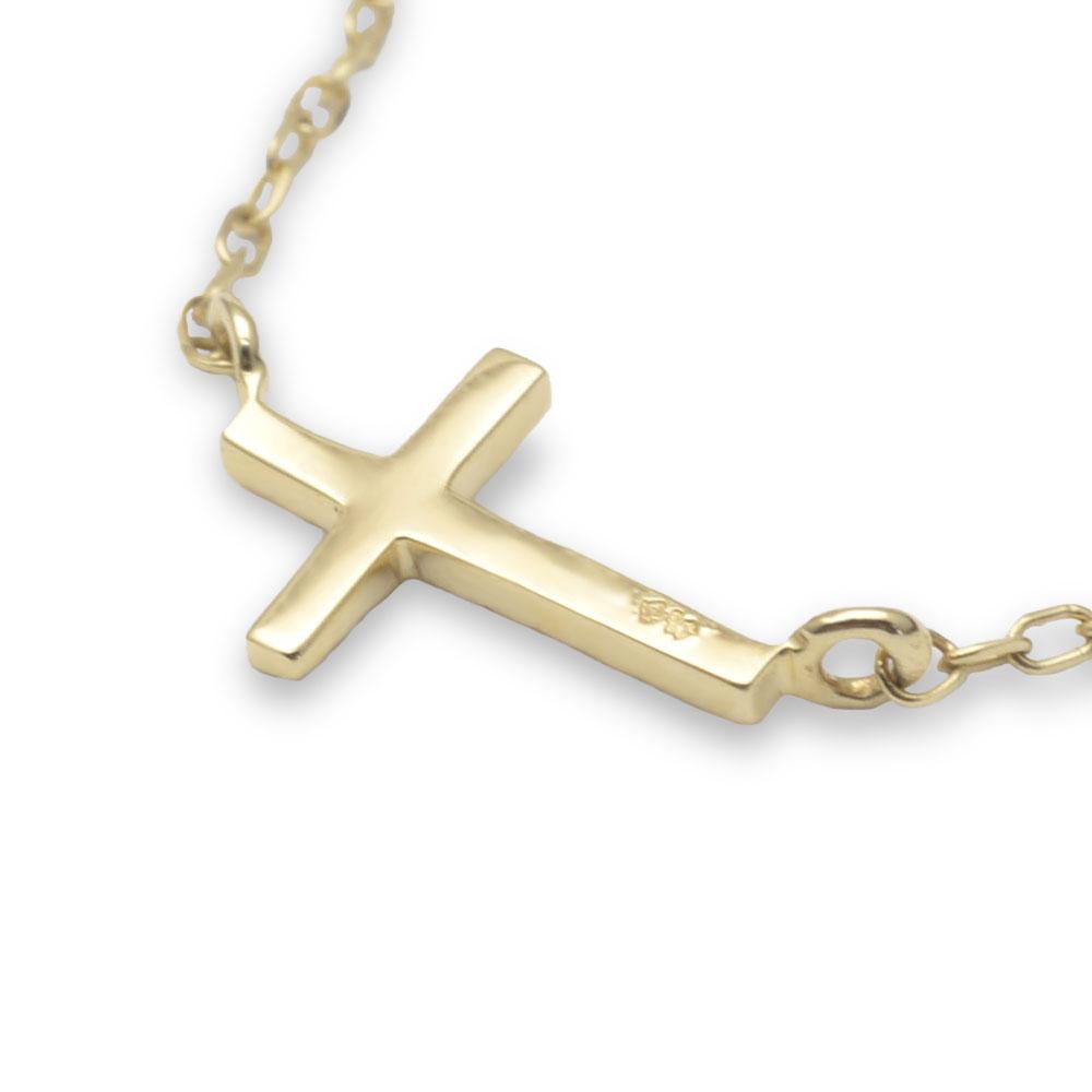ハワイアンジュエリー ネックレス ゴールド レディース K10 10金 ネックレス チェーン サイドウェイクロスネックレス 41cm チェーン一体型ネックレス ane1707k10/新作