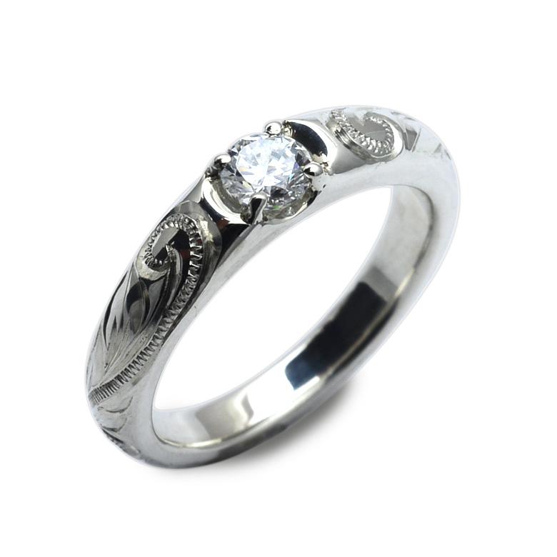 ハワイアンジュエリーレディース 女性 (weliana) プラチナ Pt950 エンゲージメント ビートセッティング クラシカルエレガント ダイヤモンド リング wesw5327