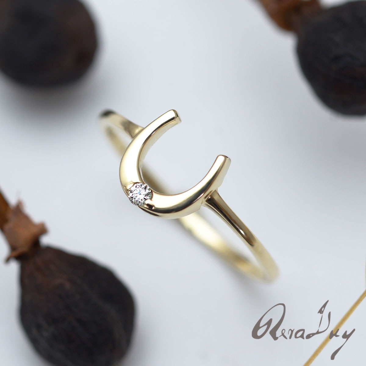 K10 リング 指輪 ダイヤモンド 馬蹄 ホースシュー ゴールドリング(K10 ゴールド 10金 イエローゴールド) 華奢 rri1627/新作