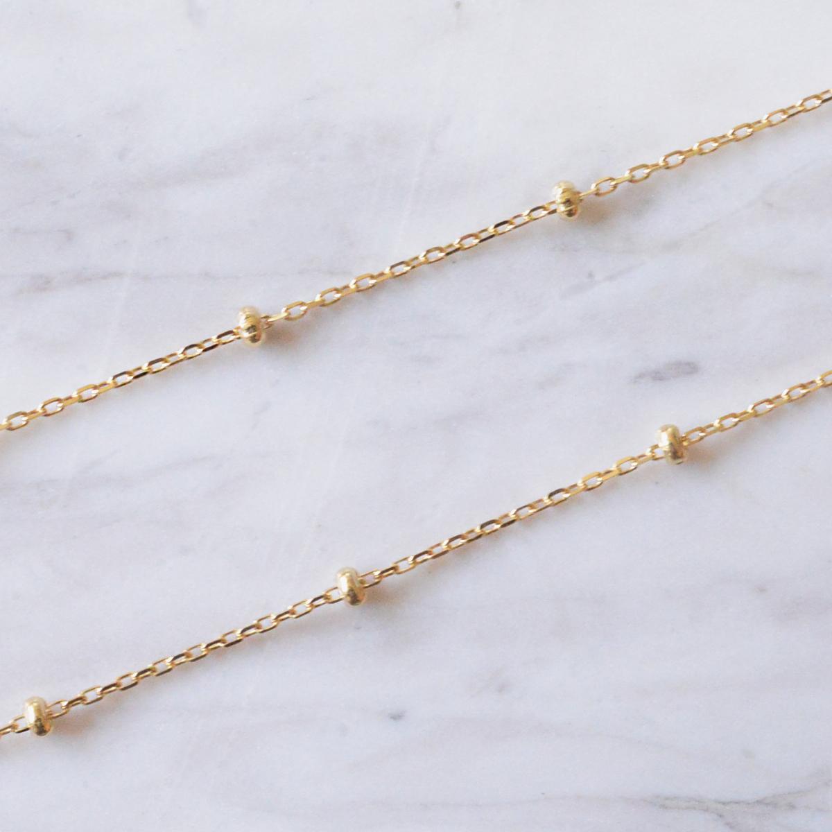 k18ネックレス K18 イエローゴールド スタッド アズキチェーン ビーズ幅1.7mm チェーン 45cm/ プレゼント ギフト gold necklace ach1663c45