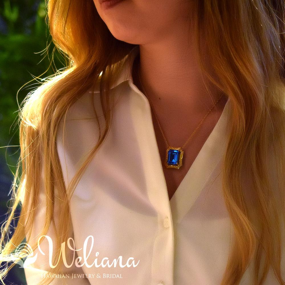 ハワイアンジュエリー アクセサリー レディース 女性 (Weliana) K18 18金 スクエア ブルートパーズ トロピカルガーデンスクロールペンダントトップ (付属チェーンなし) wpd1446